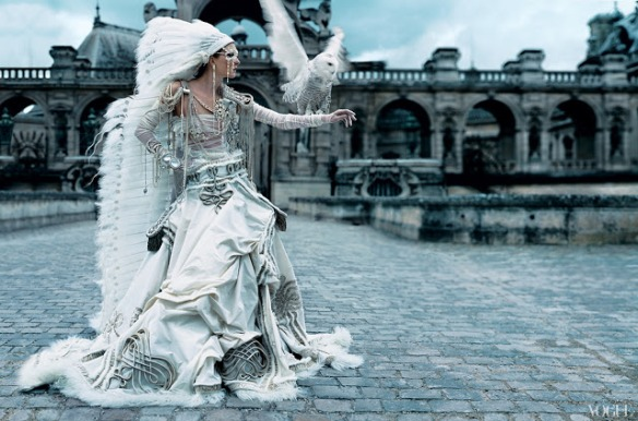 Maggie Rizer in Jean Paul Gaultier Paris Couture Bride by Craig McDean-Vogue-October-2002